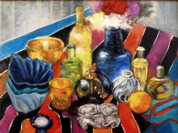 still-life_bottles_immpressionist_expressionist_nature-morte_painting_18x24_oil-painting_decanter_perfume_marilyn_boddewyn_contemporary_art_colorful_naturaleza_muerta_Nature-mort_ancora+vita_Still-Leben_静物_натюрморт_Pin